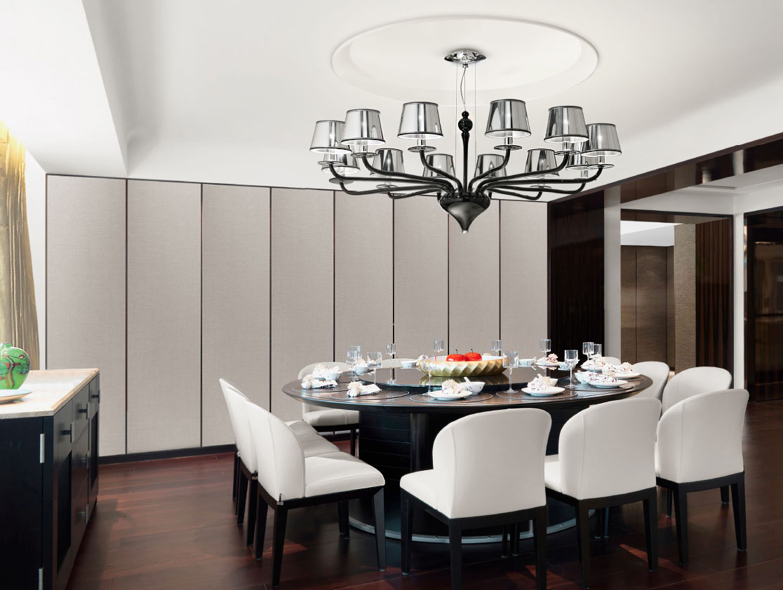 L2010k8 Black Modern Murano Glass Pendant In Dining Room Interior
