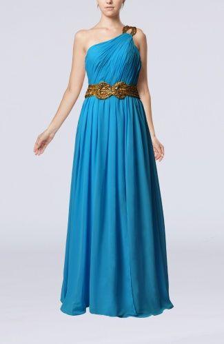 Cornflower Blue Romantic Sheath Zipper Chiffon Floor Length Party Dresses - iFitDress.com