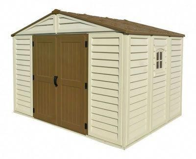I Really Like The Combination Between Cream And Brown On This Shed It Reminds Me Of Something My Grandpare Vinyl Sheds Vinyl Storage Sheds Garden Storage Shed