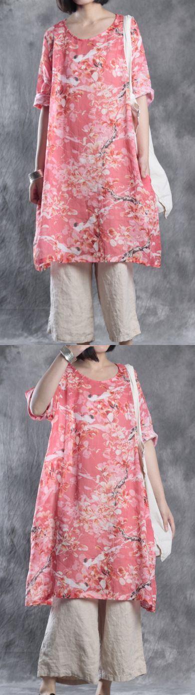 linen dresses plus size casual sundress bracelet sleeved mid dress