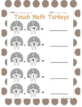 Touch Math Thanksgiving Single Digit Addition and Subtraction ...
