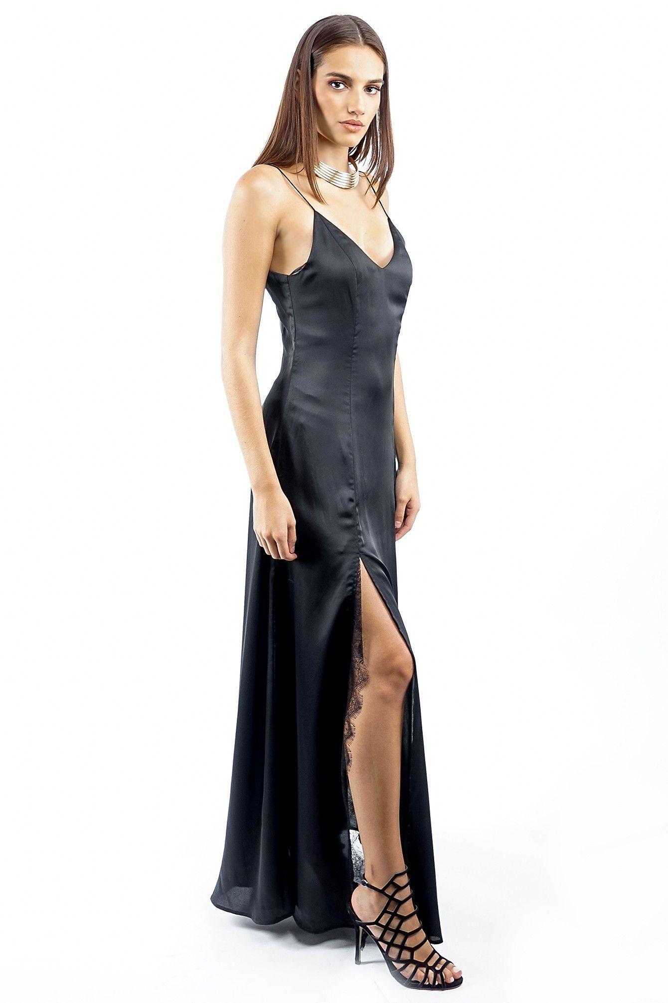 Black Long Satin Two Split Slip Dress In 2019 Dresses