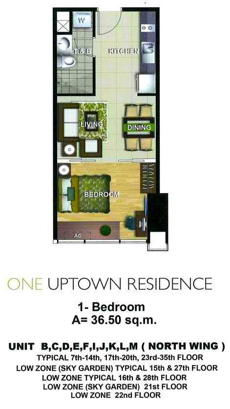 36 5sqm 1 Bedroom Plan Condominium Plan How To Plan House Plans