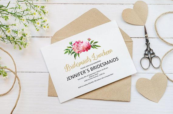 Bridesmaids Luncheon Invitation Template Pink Peonies Bridesmaids - Bridesmaid luncheon invitations template