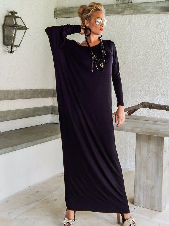 Black Maxi Long Sleeve Dress   Black Kaftan   Asymmetric Plus Size Dress    Oversize Loose Dress    3 a43cfc9fa3
