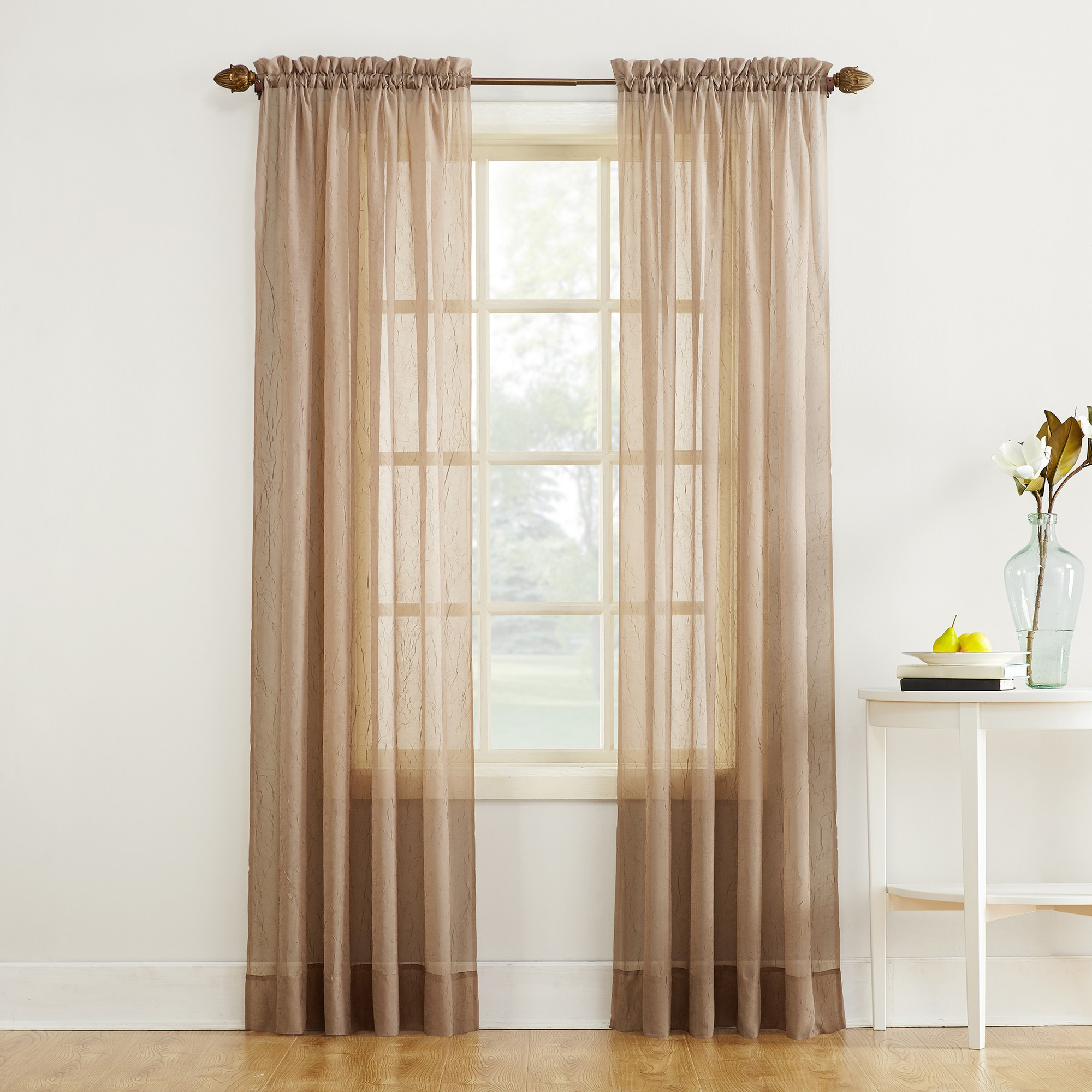 51 X63 Erica Crushed Sheer Voile Rod Pocket Curtain Panel Taupe