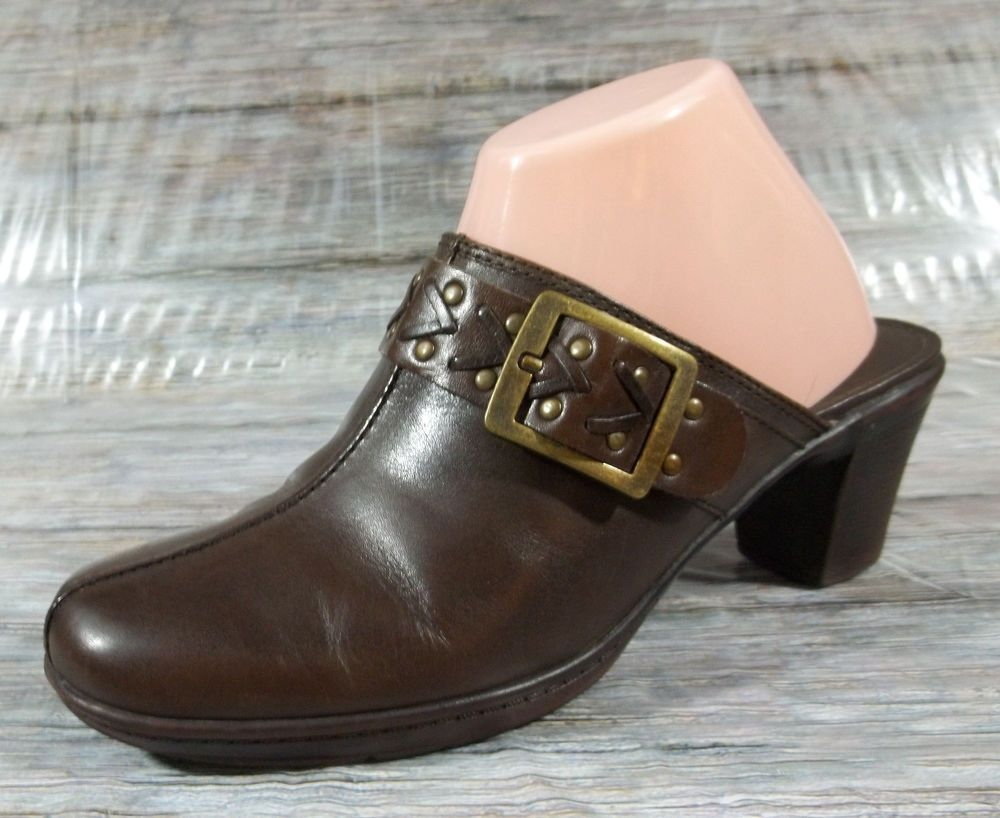8 Mule Womens Solid Clarks M Size Heel Brown 5 Bendables Loafers IHqx5Yq