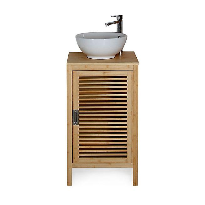 Nature Meuble de salle de bains en bambou 50cm   Toilettes ...