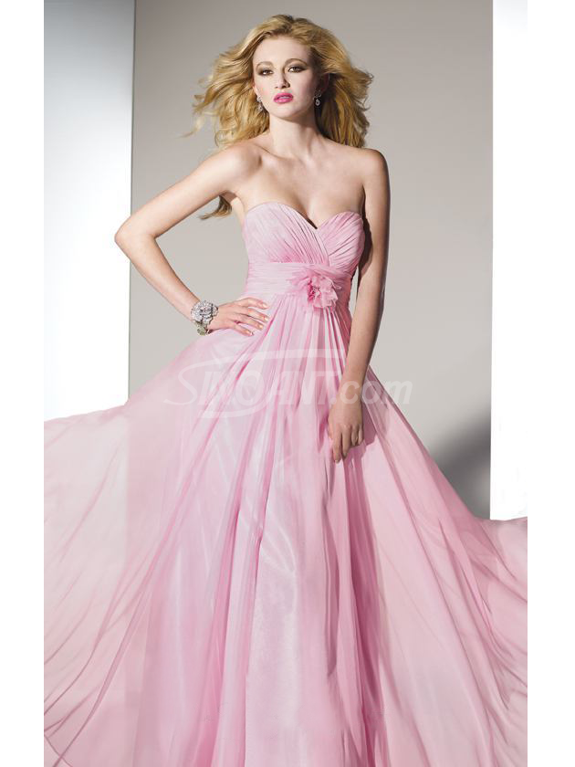 Adorable Pink A-line Sweetheart Neckline Sweep Floor Chiffon Prom ...