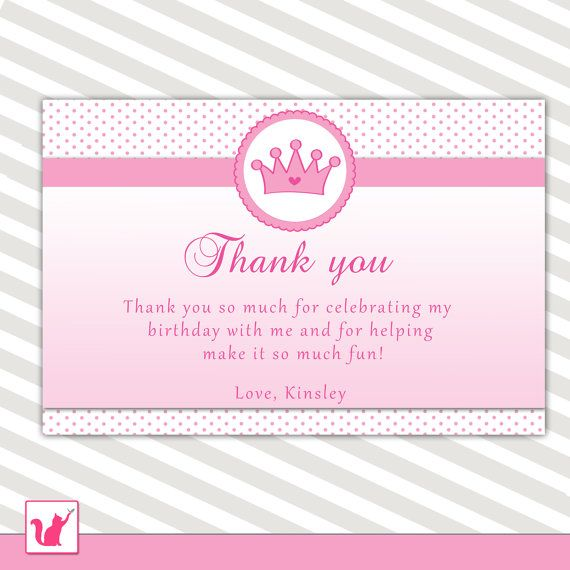 Princess Thank you Note Pink Crown Girl Birthday Party Baby Girl – Personalized Birthday Thank You Cards