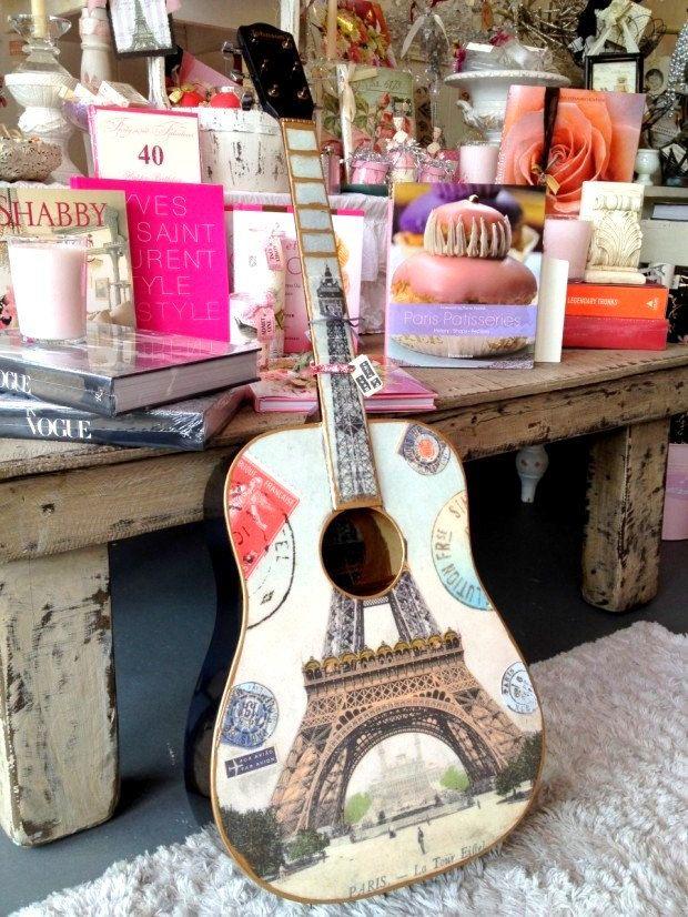paris france acoustic guitar eiffel tower gold trim vintage guitar music wall art blue. Black Bedroom Furniture Sets. Home Design Ideas