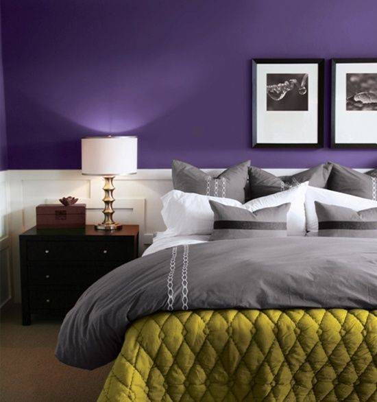 Purple, Green And Grey Bedroom.love The Purple Wall Color