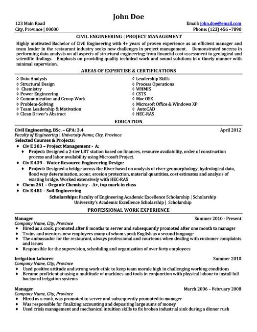 Civil Engineering Project Management Resume Template Premium - civil engineering sample resume