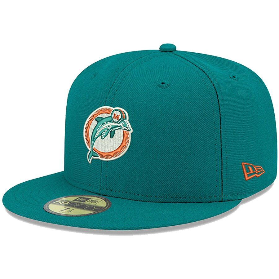 best service 746fa 89e2b Men s Miami Dolphins New Era Aqua Omaha Throwback 59FIFTY Fitted Hat, Your  Price   36.99