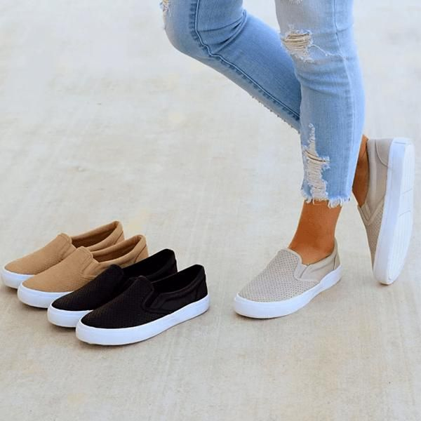 61d57eb6492 Chellysun Slip On Running Flat Sneakers Womens Casual Sneakers