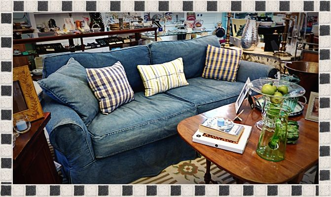 Great Cindy Crawford Couch With Beach Denim Washable Slip