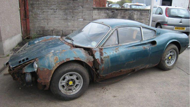 This rustbucket Ferrari Dino sold for 221,000