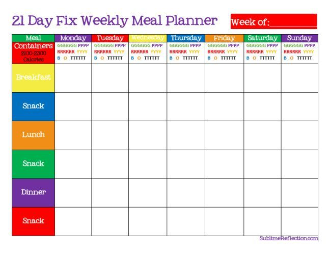 How To Create A 21 Day Fix Meal Plan | Weekly Meal Planner, Weekly