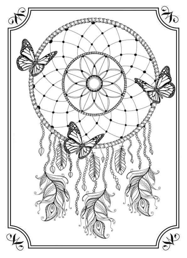 Pin By Krystal Bryant On Coloriage Dream Catcher Coloring Pages Butterfly Coloring Page Mandala Coloring Pages