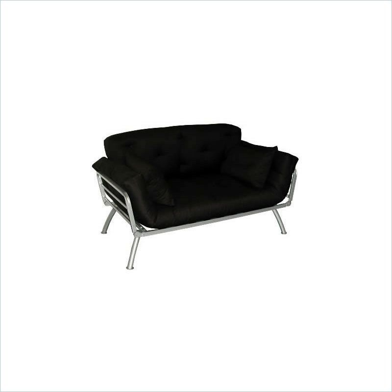 Elite Products Mali Convertible Twin Futon with Pewter Metal Frame ...