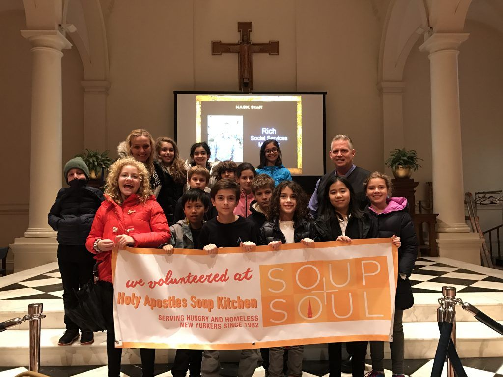 Fifth graders tour Holy Apostles Soup Kitchen, then return for a visit to serve and get to know the guests and volunteers of this community institution.