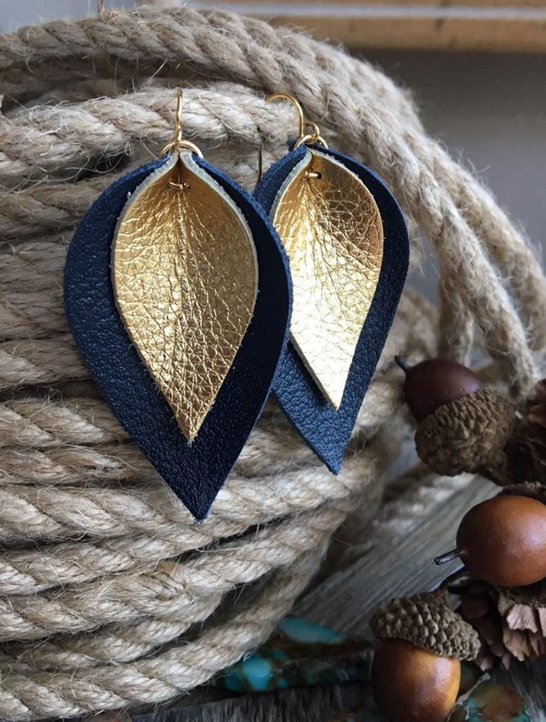 Leather Earrings  Navy Blue and Gold Metallic Leather Layered | Etsy