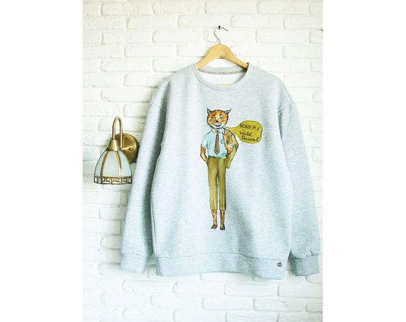 Fantastic Mr Fox Sweater Men Fox Sweatshirt for men Gray Sweater Wes Anderson Hand-painted Mens Sweatshirts Boyfriend Gift bzfHk