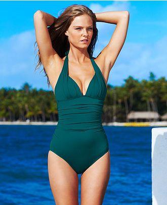 Dkny Swimsuit Halter Ruched Maillot One Piece Swimwear Women Macy S Swimwear Fashion Swimsuits Swimwear