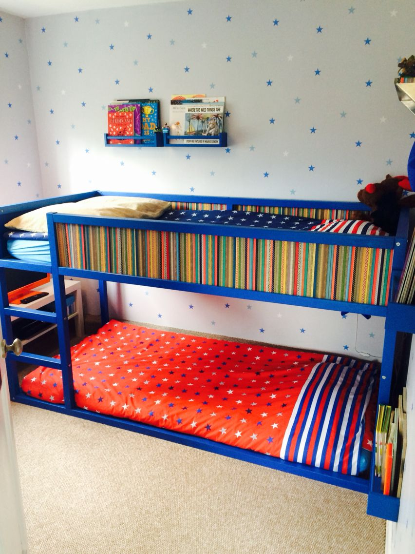 ikea kura bed turned into bunk bed using extra slats on the bottom painted and