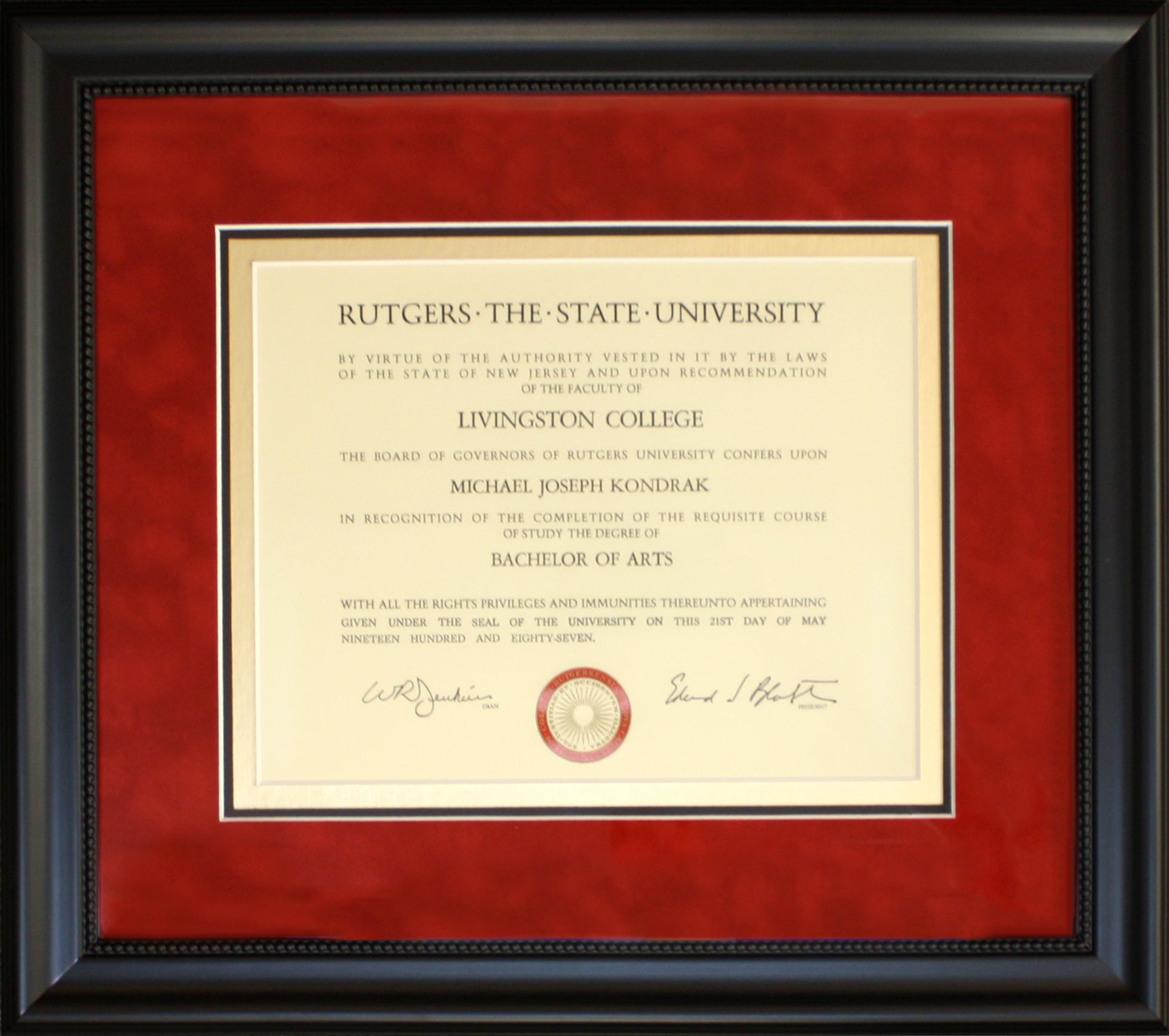 Rutgers diploma framed with red suede mat, gold accent inner mat ...