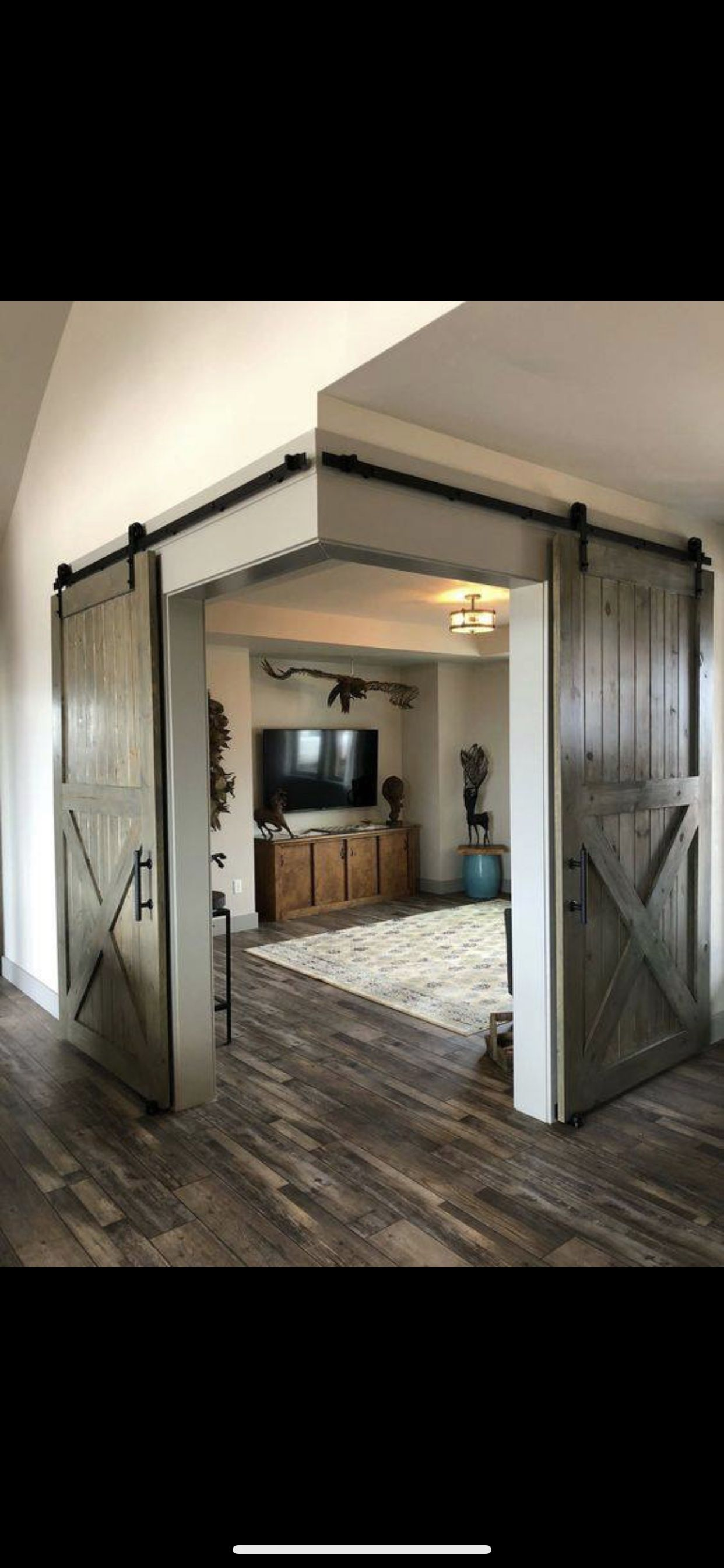 Barn Door Corner Entrance Could Be Modernized For A Different Vibe Or Kept Similar In An Urban Rustic Theme Home Dream House Decor Dream House