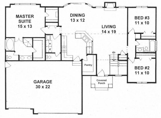 First Floor Plan of Traditional   House Plan 62643 - Love how you go right into the kitchen from garage....great for bringing in groceries.
