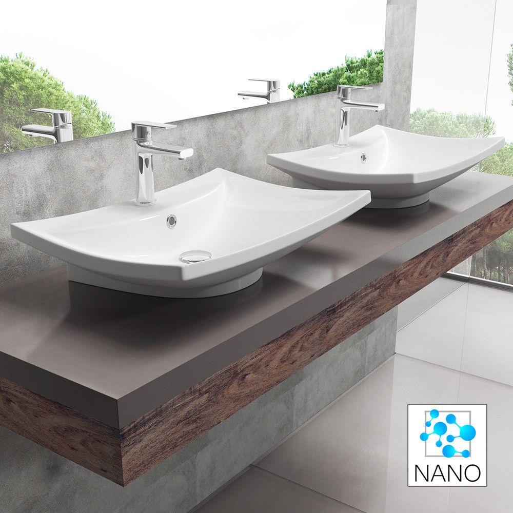 Keramik Waschbecken Waschschale Wandmontage Waschtisch Inkl Nano Pro 219m 61x43 Heimwerker B Waschbecken Moderne Badezimmer Waschbecken Moderne Waschbecken