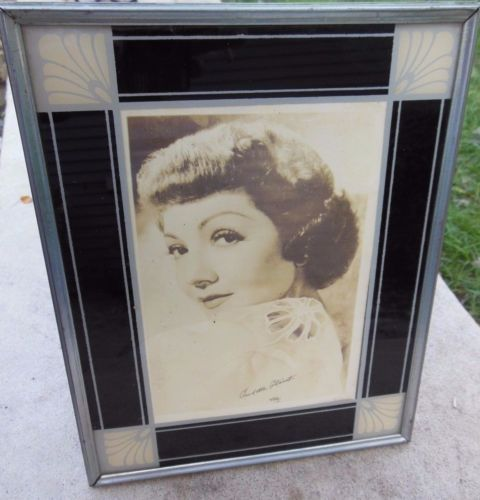 vintage reverse painted glass art deco stand up frame claudette colbert pic