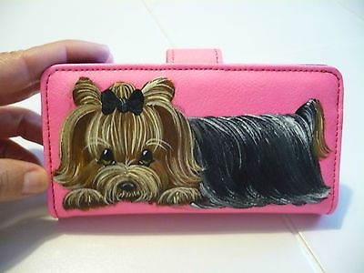 Handpainted Yorkie Cell Phone Case Purse Wristlet So Cute!! On ebay!
