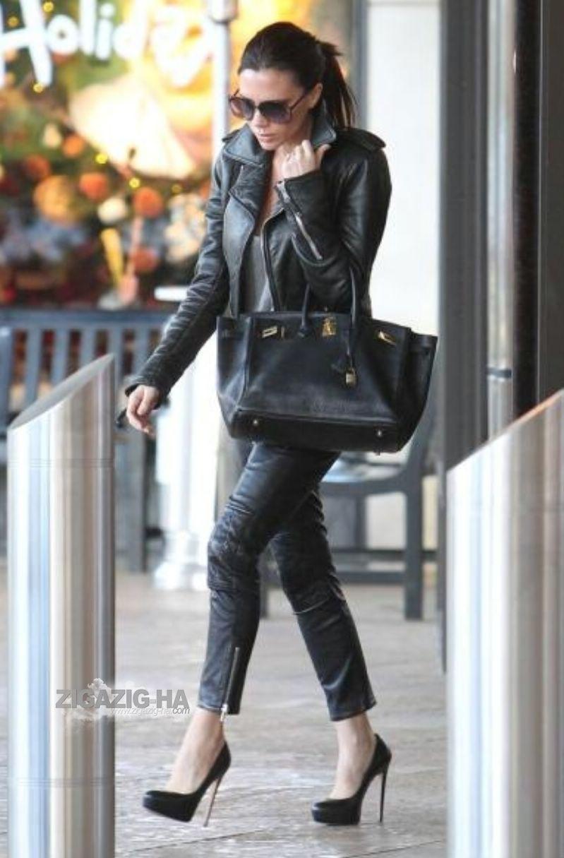 Leather jacket victoria - Victoria Beckham In A Balenciaga Leather Biker Jacket Isabel Marant Soan Leather Pants Hermes