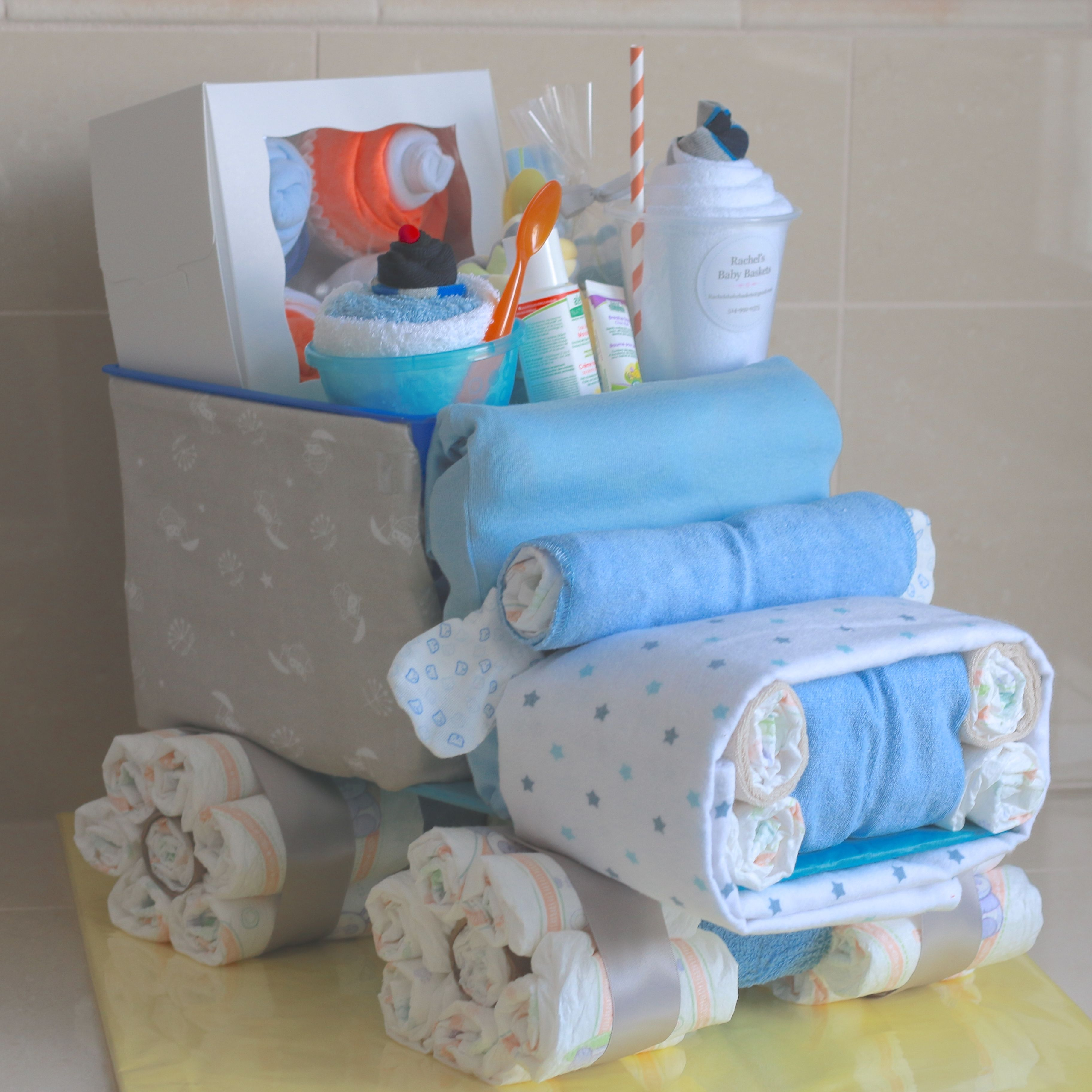 Tools and Trucks Baby Clothing Gift Bouquet - Boys Sock Bouquet Big Trucks Baby Shower Decor Construction Baby Shower