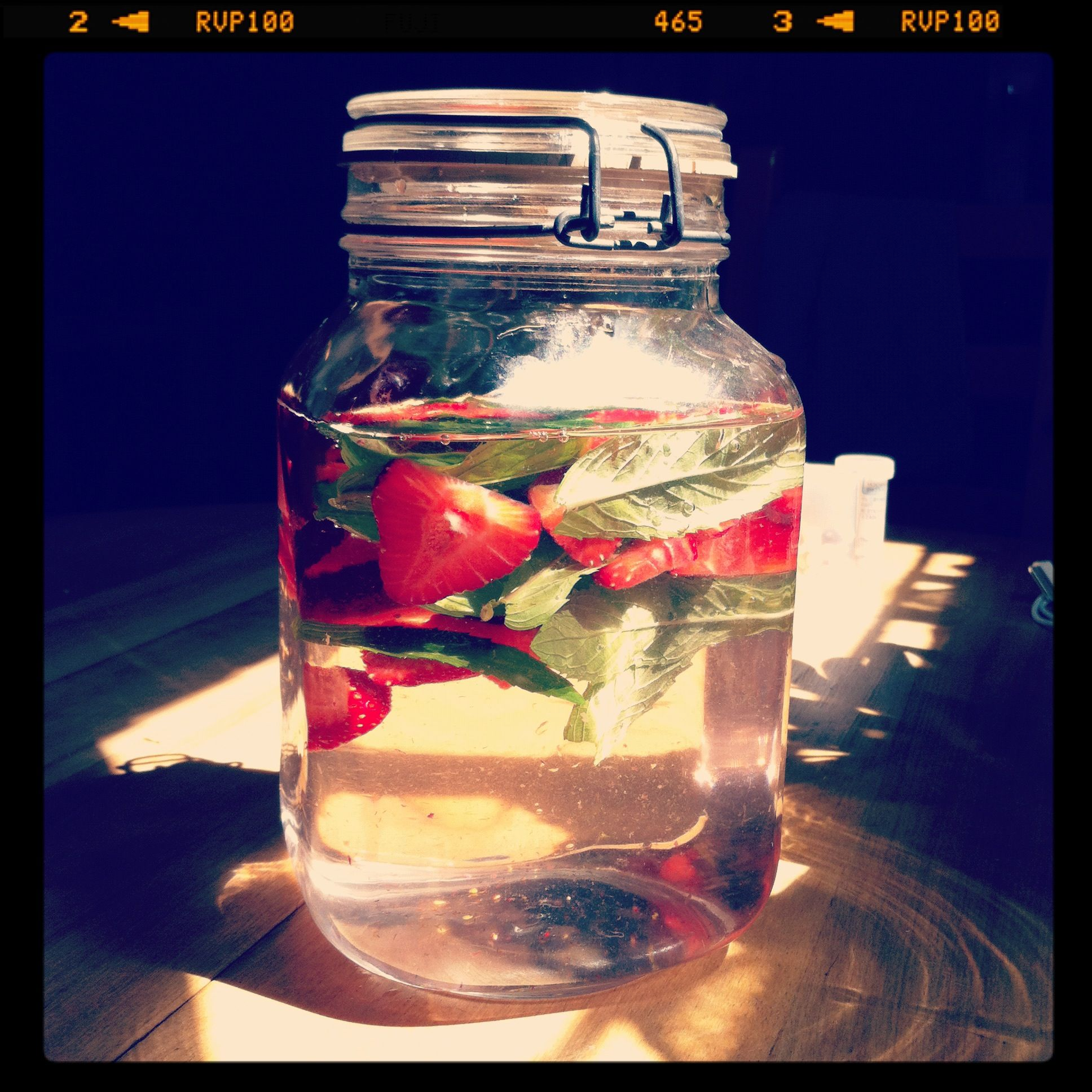 Strawberry, mint water. Lovely to drink + look at.