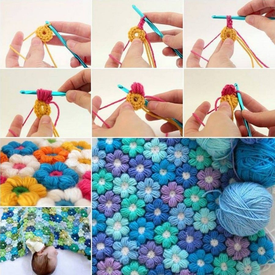 Diy crochet 6 petal puff stitch flower blanket - Crochet Button Flower Wall Art Pattern By The Hat
