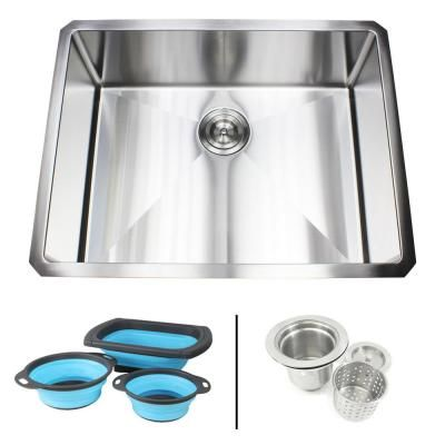 Emoderndecor Undermount 16 Gauge Stainless Steel 26 In X 20 In X 10 In Single Bowl Kitchen Sink Combo Silver Single Bowl Kitchen Sink Sink Sink Design