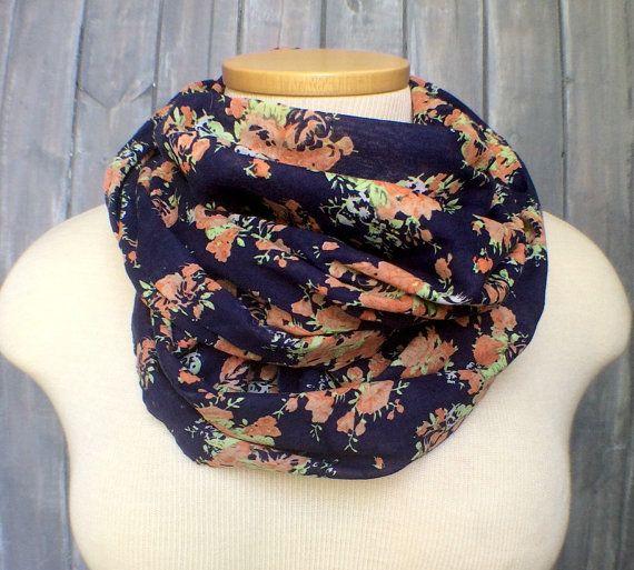 50b95e159c2 Floral Infinity Scarf - Blue Navy Linen Scarf - Lightweight Cotton ...