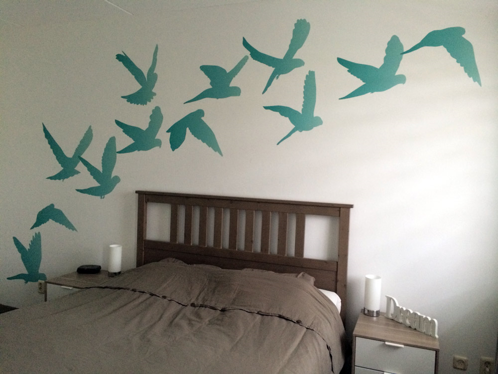 Behang vogels voor slaapkamer of woonkamer turquoise ...