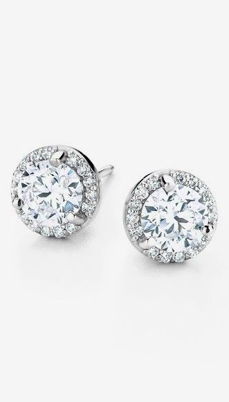 01cf3380c 18K White Gold Luxe Diamond Halo Earrings (1 1/10 ct. tw.) | Jewelry ...