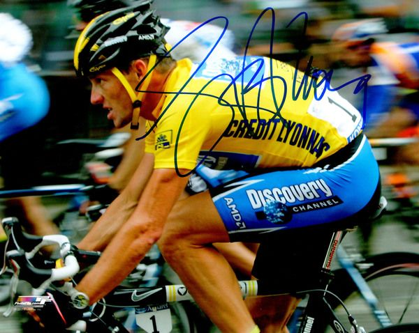 Lance Armstrong Signed Tour De France Cycling Action 8x10 Photo
