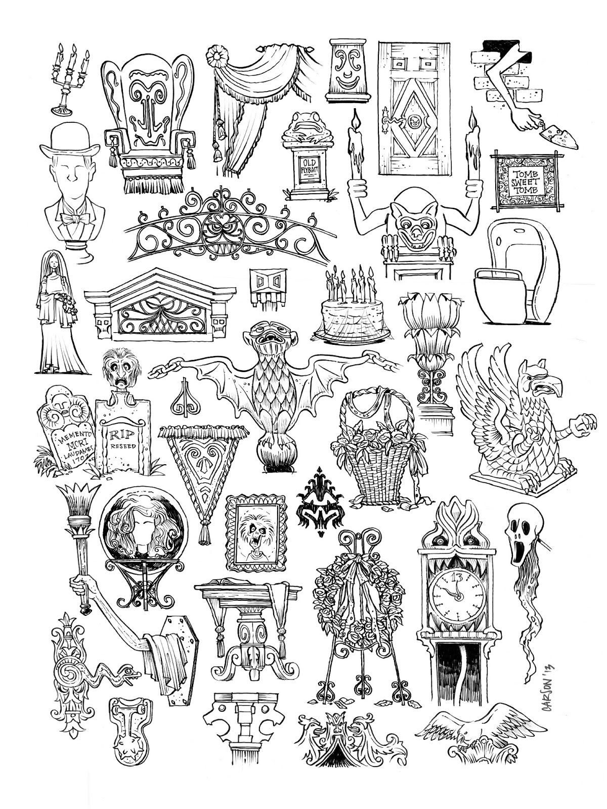 This Is A Collection Of Props And Details From Disney S Haunted Mansion Attraction D Haunted Mansion Tattoo Disney Haunted Mansion Haunted Mansion Disneyland