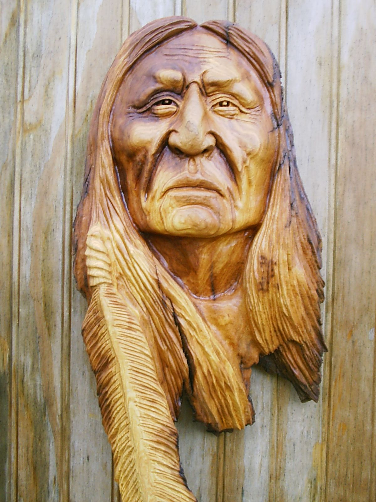 Native american indian wood carvings