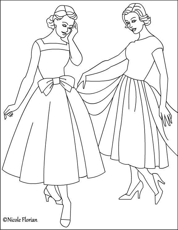 Nicole\'s Free Coloring Pages: Vintage Fashion * Coloring pages ...