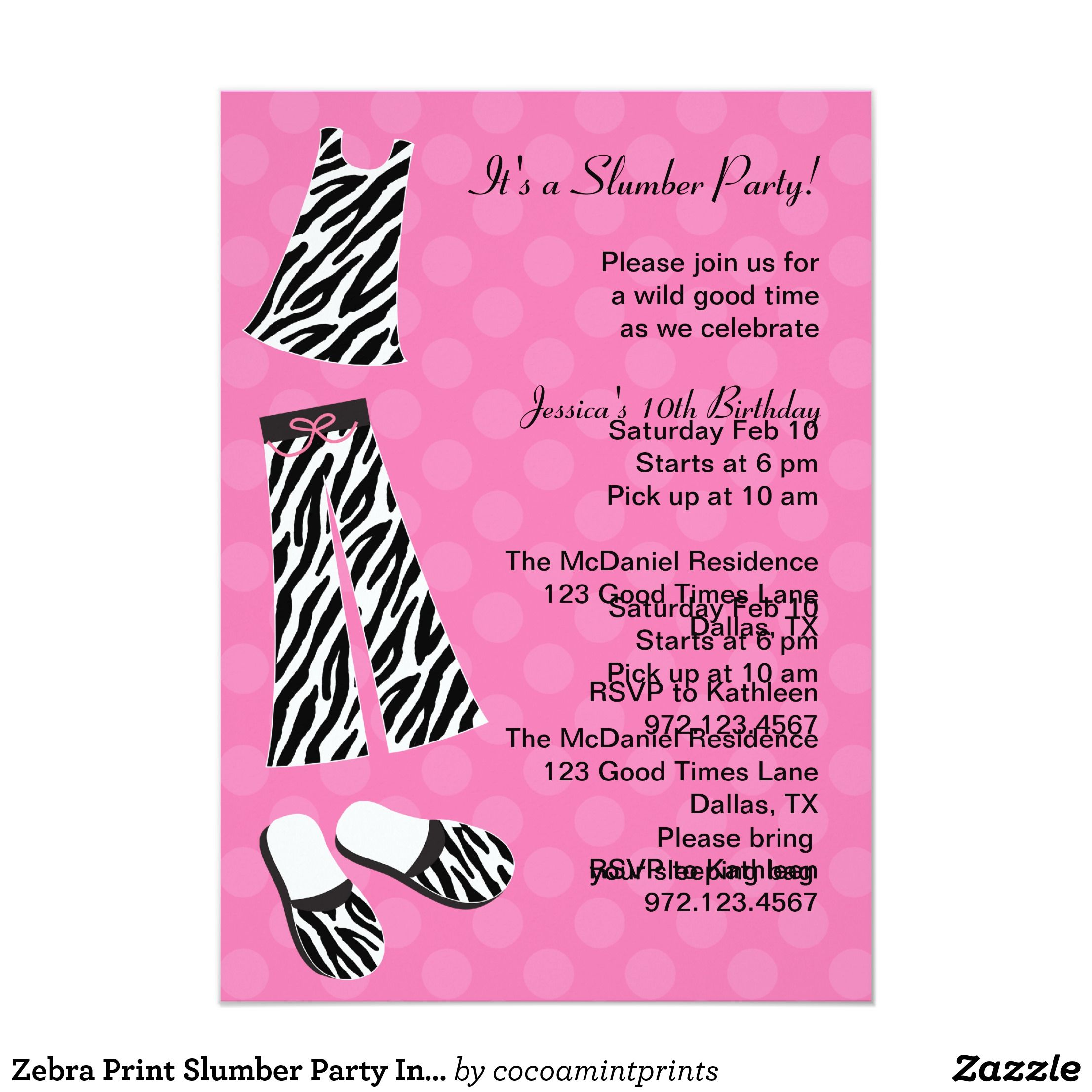 Zebra Print Slumber Party Invitations | Invitations | Pinterest ...