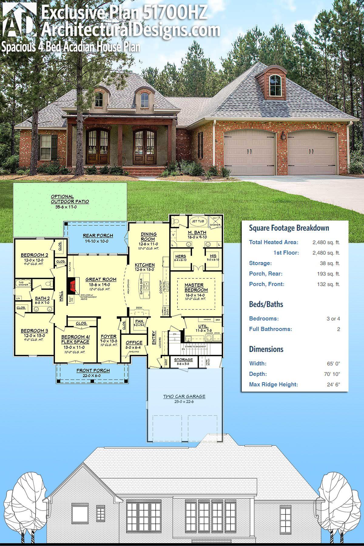 Plan 51700hz Spacious 4 Bed Acadian House Plan Acadian House