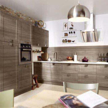 Meuble de cuisine décor chêne blanchi DELINIA Karrey Leroy Merlin - hotte integree dans meuble haut